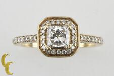 14k Oro Amarillo Diamante Halo Anillo Solitario De Compromiso 1.00 QUILATE Talla
