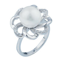 Sterling Silver (925) Pearl White Sapphire Swirl Ring  Size 4, 5, 6, 7, 8