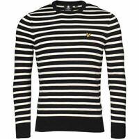 Lyle & Scott Mens Breton Stripe Sweatshirt Pullover Navy