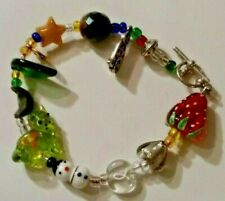 GLASS BEADED BRACELET WITH CHARMS CATS SNOWMAN VINTAGE