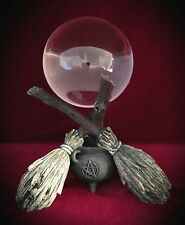 Gazing Ball - Broomsticks Cauldron - Witchcraft Wiccan-Pagan Wicca