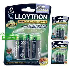 6 x Lloytron C Size 3000 mAh NiMH Rechargeable Batteries LR14 HR14 DC1400 ACCU