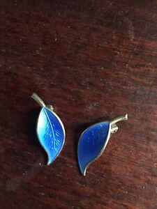 Pair Of Nowegian 925 Silver And Enamel Clip On Earrings