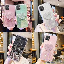 For Samsung S21 S20 FE Note20 10 8 Glitter Bling Sparkle Love Heart Holder Case