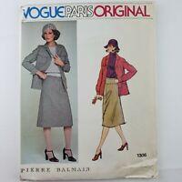 Vogue Paris Original Pattern 1306 UNCUT Pierre Balmain Misses Jacket Skirt Sz 14