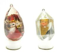 Lot of 2 Vintage Christmas Tree Ornaments Plastic Diorama Angel Mirrored