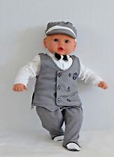 NEU Baby Kleidung Anzug Set 4 Teile Shirt Weste Hose Mütze Schwarz Jungen Taufe