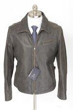 Mens KAPRAUN Dark Brown Distressed Leather Coat Full Zip Jacket 50 40 M NWT