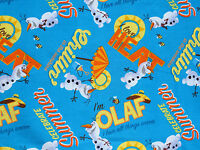 FAT QUARTER FABRIC OLAF  SNOWMAN CHILLIN TOSS  DISNEY FROZEN COTTON  SISTERS  FQ