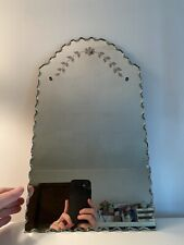 New listing Vintage Beveled Edge Etched Wall Mirror Frameless Antique Mid Century 18� x 10�