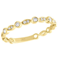 Stackable Right Hand Ring 1/6 Ct. 10K Yellow Gold Bezel Set Diamond Teardrop