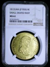 Spanish Colonial Peru 1812 JP Gold 8 Escudos NGC MS-61* Scarce Small Head RARE