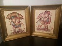 Vintage Hummel Framed Prints - Boy & Girl Umbrella Girl Kissing Boy Signed 11x13