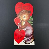 Vtg Valentines Card 40s 50s Ephemera Greeting Eager Beaver Anthropomorphic Love