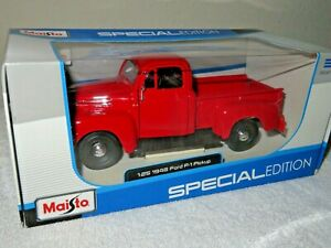 1948 FORD F-1 PICKUP RED 1:25 MAISTO OPENING PARTS, ORIGINAL WHEELS