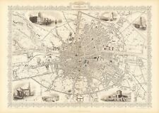 Antique Dublin Ireland decorative map Tallis 31,5 x 23,6 inch canvas