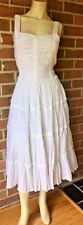 TO THE MAX Crinkle Tiered Midi Dress Bohemian Casual Bridal White Fit Bodice 10