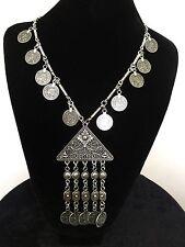 Vintage Necklace Moroccan Coin Silver Hippie Boho Tribal Bohemian N1051