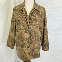 Chico's L Sz 2 Jacket Blazer Animal Print Brown Button Long Sleeve Soft #A