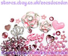 3D DIY Mobile Cell Phone Case pink Crown flower juicy cabochon Deco Den Kit
