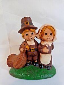 "BOY AND GIRL PILGRIM FIGURINE 5"" Hugging Turkey Brown Hand Painted Ceramic"