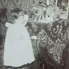 Kittens Little Girl Cats Victorian Table Child Scolding Get Down Stereoview F449