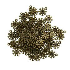 100x Antique Bronze Christmas Snowflake Charms Pendants DIY Jewelry Findings
