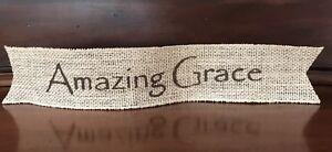 Primitive Christmas Amazing Grace Wired Burlap Ribbon Banner Ornament Garland BU