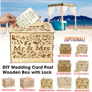 Wedding Party Decor Card Post Wooden Box Collection Gift Card Boxes + Loc