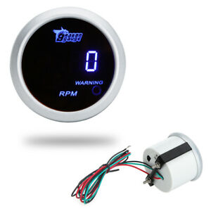 "12V LED 52mm/2"" 0-9999 Car RPM Auto Tachometer Gauge Digital Counter Universal"