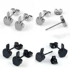 1 pair Womens Mens Stainless Steel Ear Studs Funny Middle Finger Up Earring Hot