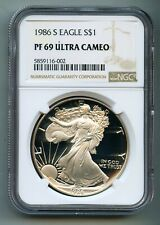 1986 S American Silver Eagle Dollar NGC PF 69 Ultra Cameo (DCAM)