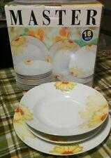 Servizio piatti fine porcellana tondi con fiori per 6 persone MASTER 18 pezzi