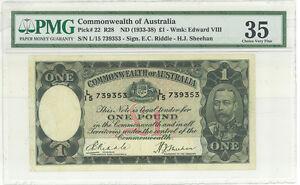 Australia 1 Pound pick # 22 dated 1933 PMG 35 King George V  - rare