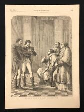 1873 antico libro di stampa/Piastra PAPA PIO VII arrestati ordine di Napoleone Bonaparte