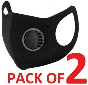 2X-Breathable Face Mask Washable Black Reusable Filter Valve Mouth Protection UK