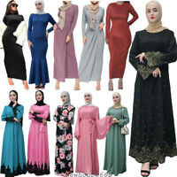 Ramadan Abaya Women Lady Maxi Dress Muslim Islamic Arab Loose Kaftan Robes Gown