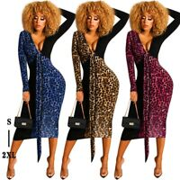 Women's Sexy Slim Leopard V-Neck Maxi Dress Lady Bodycon Party Ball Gown Dresses