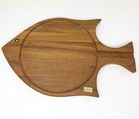 Denmark Fish Shape Teak Tray Serving Platter Hand Carved Cheese Board MCM Danish