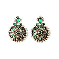 Orecchini`Orecchie A perno Dorato Tondo Grandi Verde Smeraldo Perla Retrò Etnico