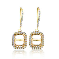 Engagement Fine Semi Mount Earrings Solid 14K Yellow Gold Natural Diamonds 0.4ct