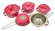 Teasets Metal Cooking Sets Kids Kitchen Sets Pink Flower Design