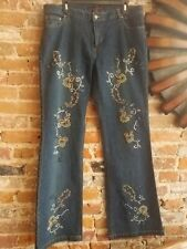 Floral Beaded Denim Bootcut Jeans Size 14