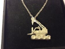 "Crane Truck GT119 Pewter On 20"" Silver Plated Curb Necklace"