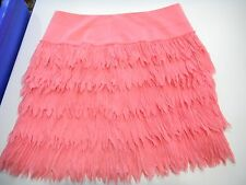 NEW ANN TAYLOR SZ 0 CORAL PINK PLUME SKIRT LAYERS OF PLEATED FEATHER LIKE FOLDS
