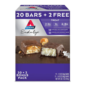 Atkins Endulge Variety Pack, Caramel Nut Chew and Chocolate Coconut Bars, Keto F