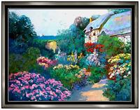 MING FENG Original OIL PAINTING on CANVAS Signed Landscape Floral Artwork LARGE