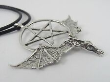 Flying Dragon with Pentagram/Pentacle Pewter Pendant on leather necklace
