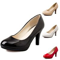 Womens Mid heel Classic Court Pumps Shiny Ladies High Heels Shoes Size UK 1.5-6