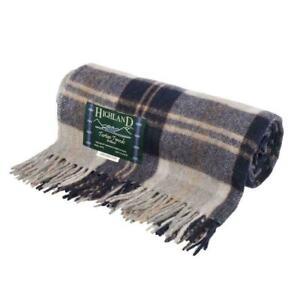 Highland Tweeds Tartan Wool Blanket Travel Rug bannockbane Silver 180 x 152cm